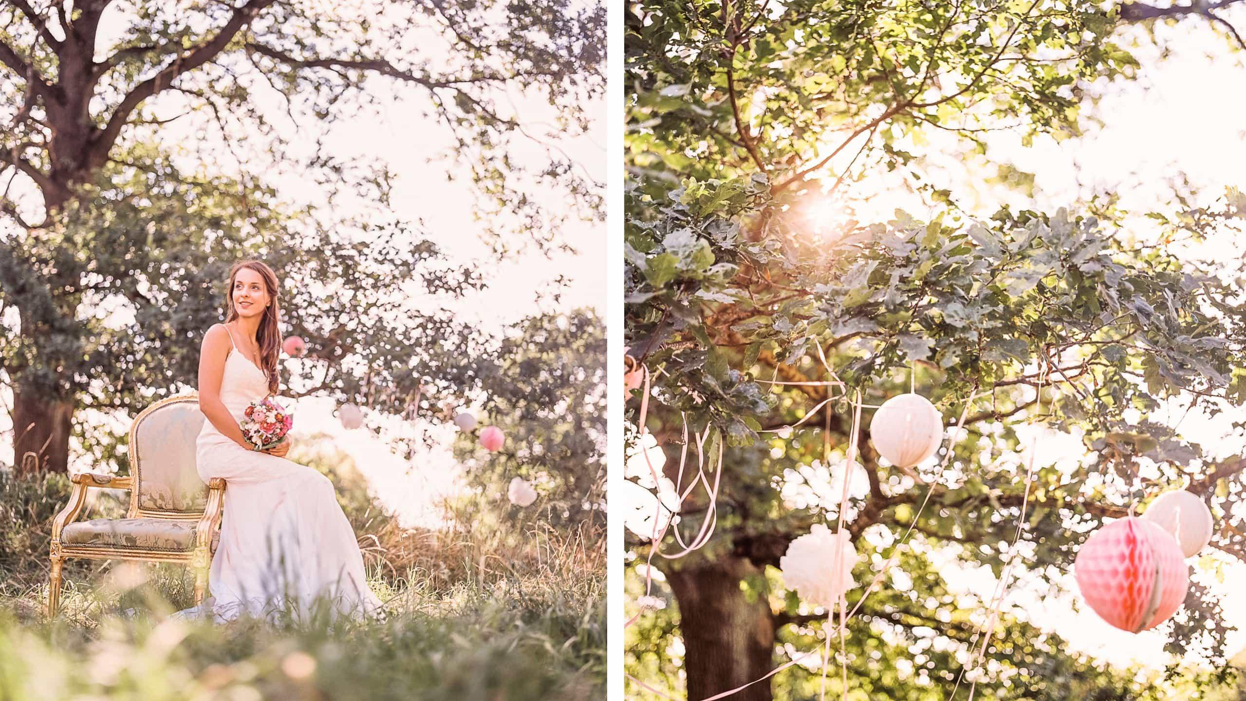 Braut und Dekoration