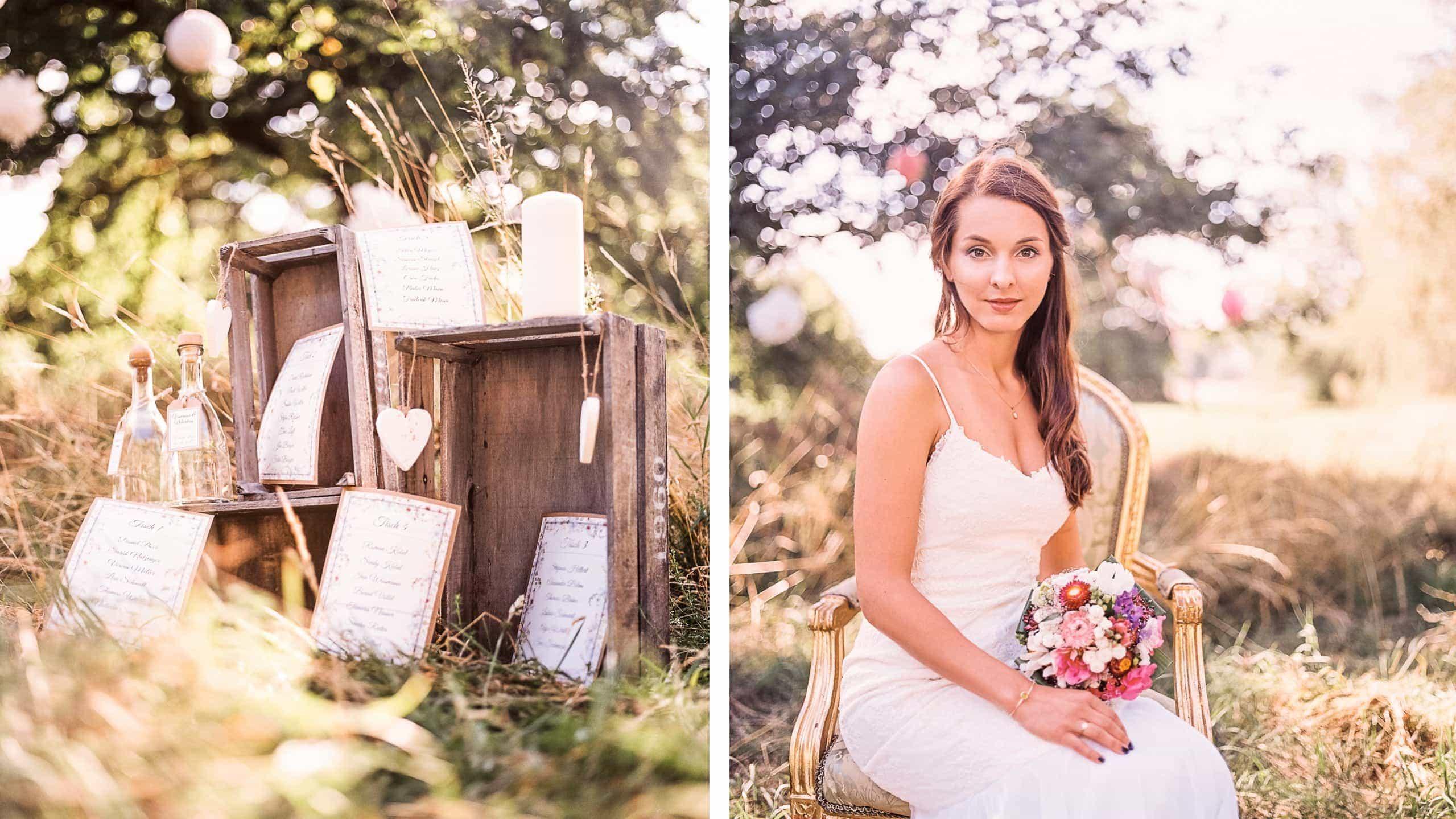 Braut mit Grußkarten