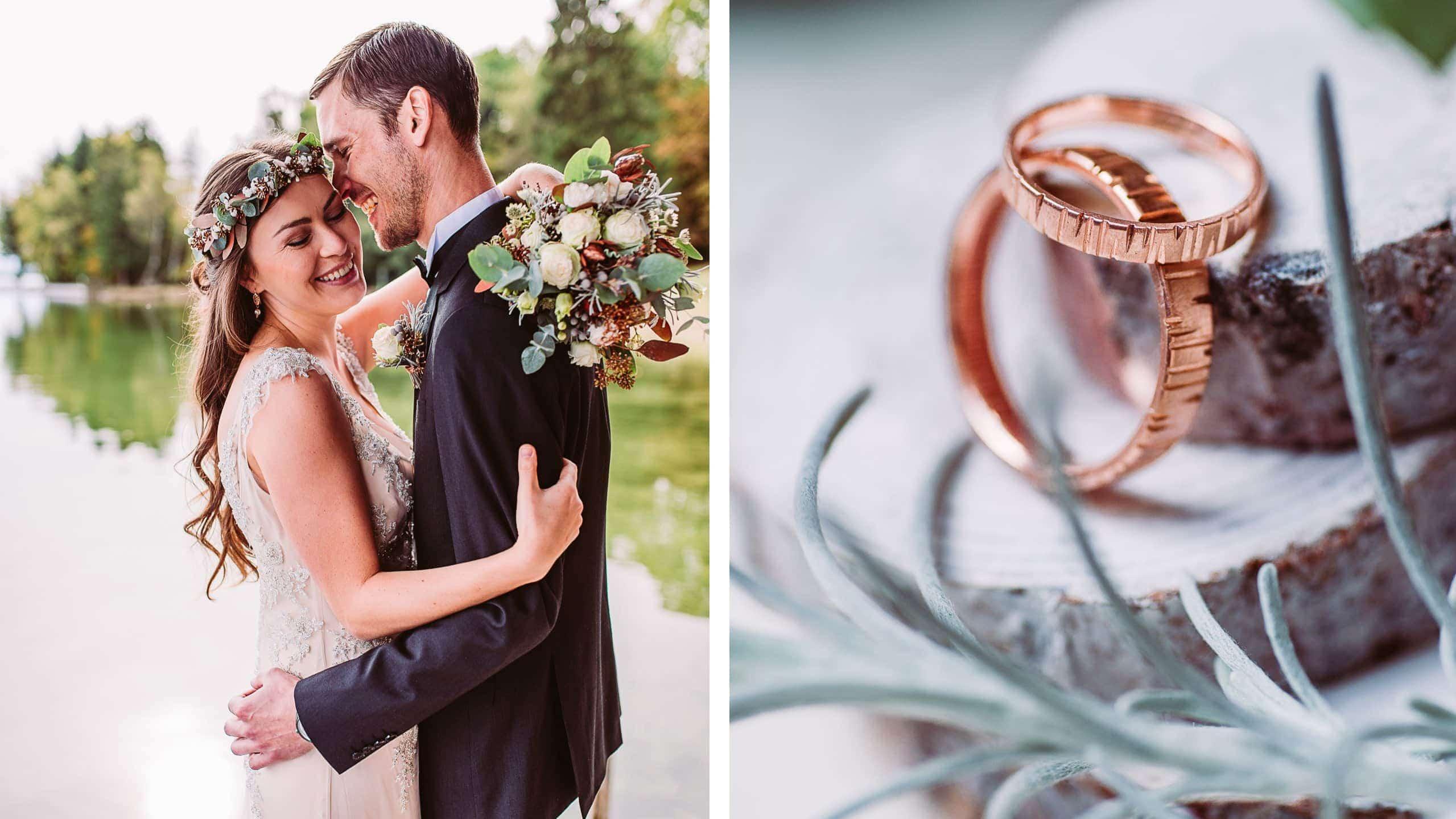 Hochzeitspaar tanzend am Steg im LaVilla, besondere Ringe als Detail, Eheringe