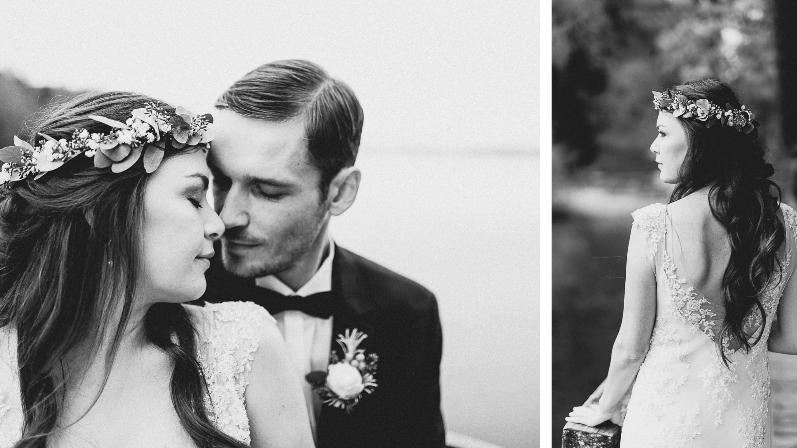 Braut und Bräutigam im Boho Stil mit Haarkranz und Spitzenkleid