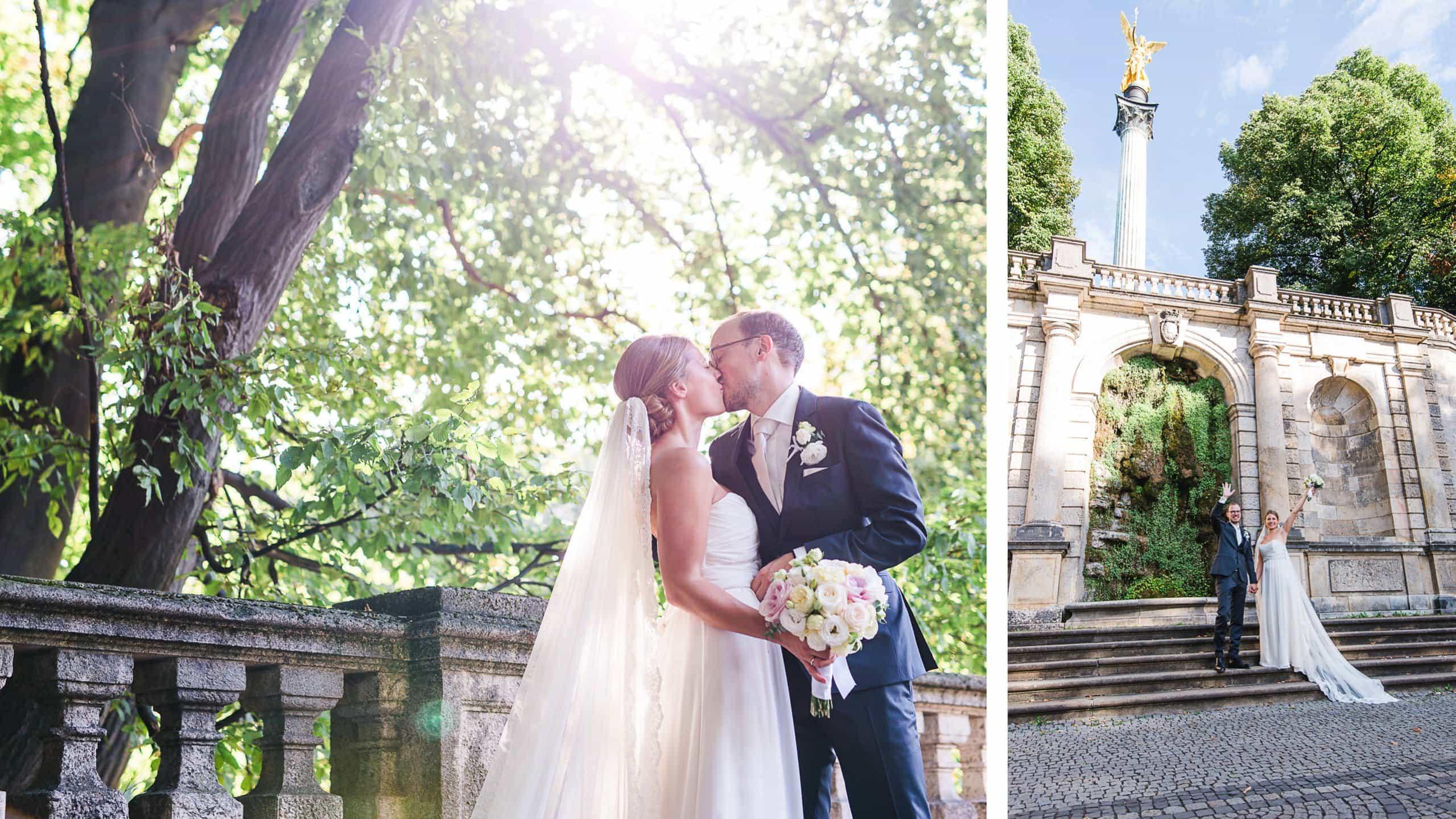 Hochzeitspaar mit Sonne am Friedensengel in München