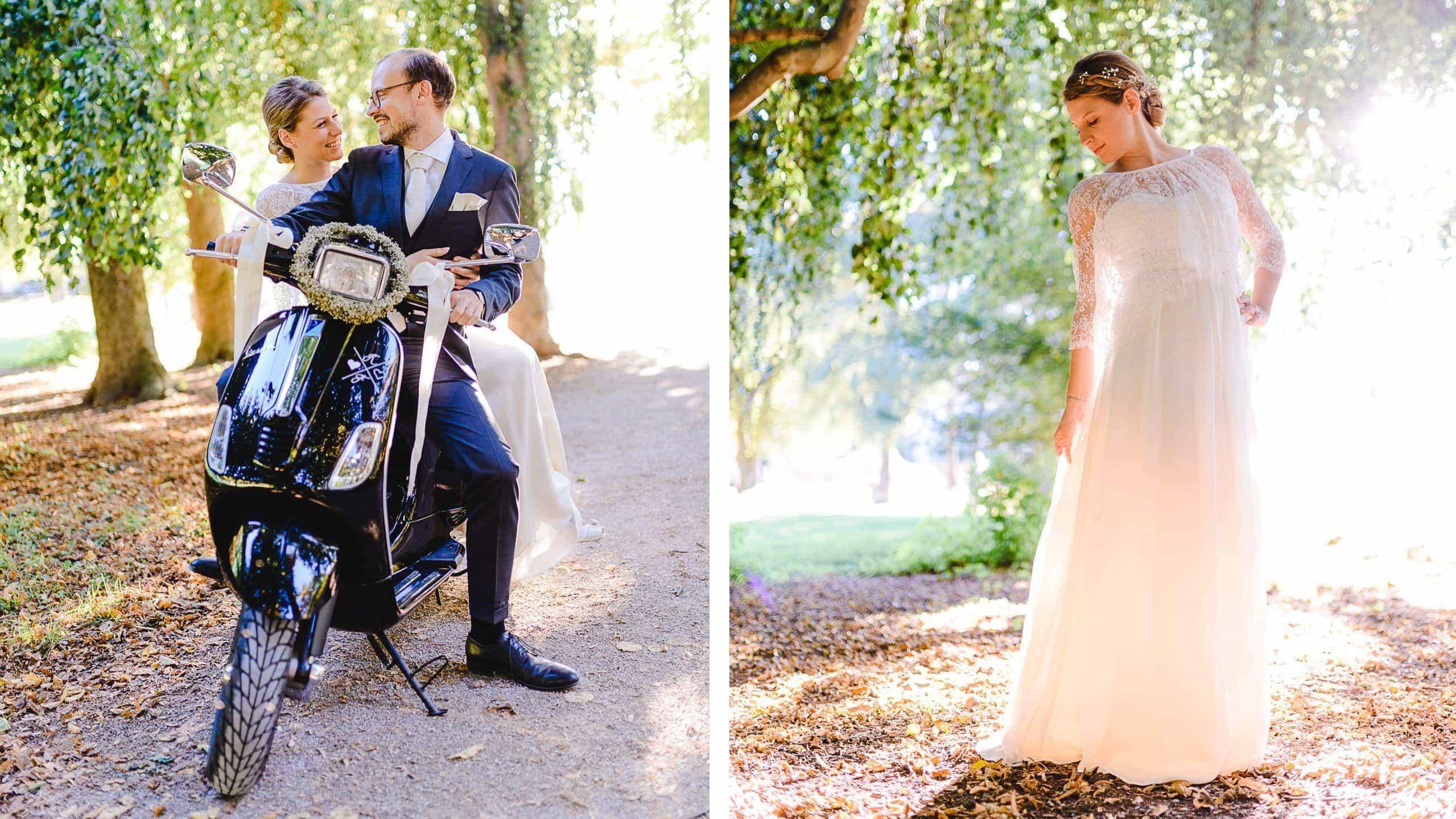 Hochzeitspaar auf Vespa und Abendsonne im Luitpoldpark in München, Braut mit Elfenkleid