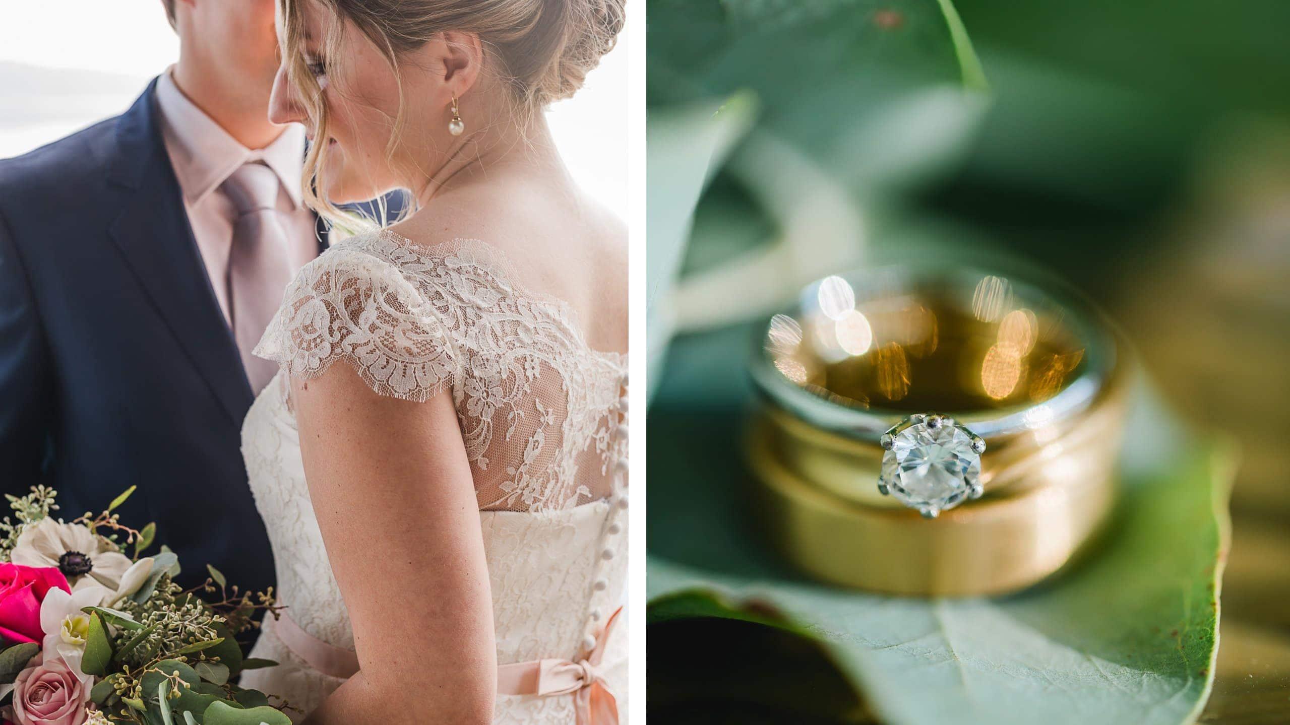 Hochzeitsfotos in und um München, Hochzeitspaar am Steg vom LaVilla, Ringdetails