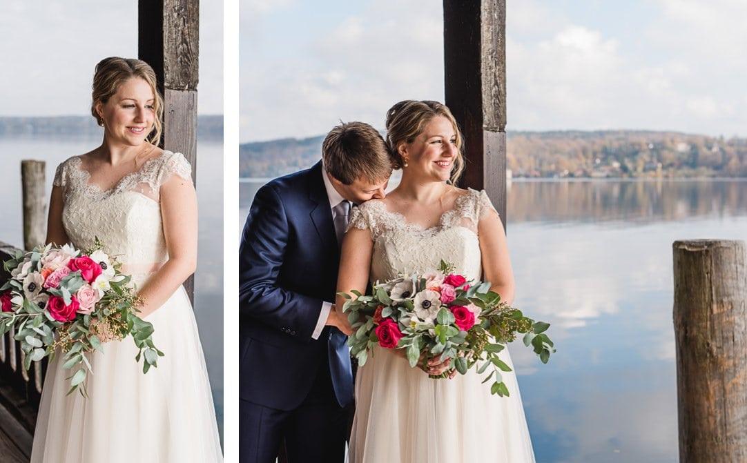 Hochzeitsportraits am Starnberger See im LaVilla am Steg, Weddingshoot mit Sonne im Herbst, Jung und Wild design