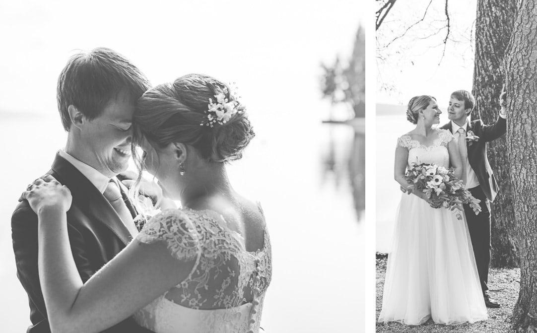 Hochzeitsportraits am Starnberger See im LaVilla am Steg, Weddingshoot mit Sonne im Herbst, Jung und Wild design, Starnberger See