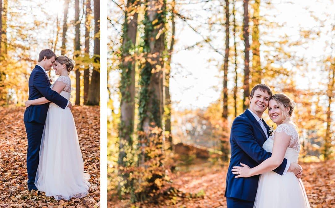 Hochzeitsportraits am Starnberger See im LaVilla im Garten, Weddingshoot mit Sonne im Herbst, Jung und Wild design, Starnberger See