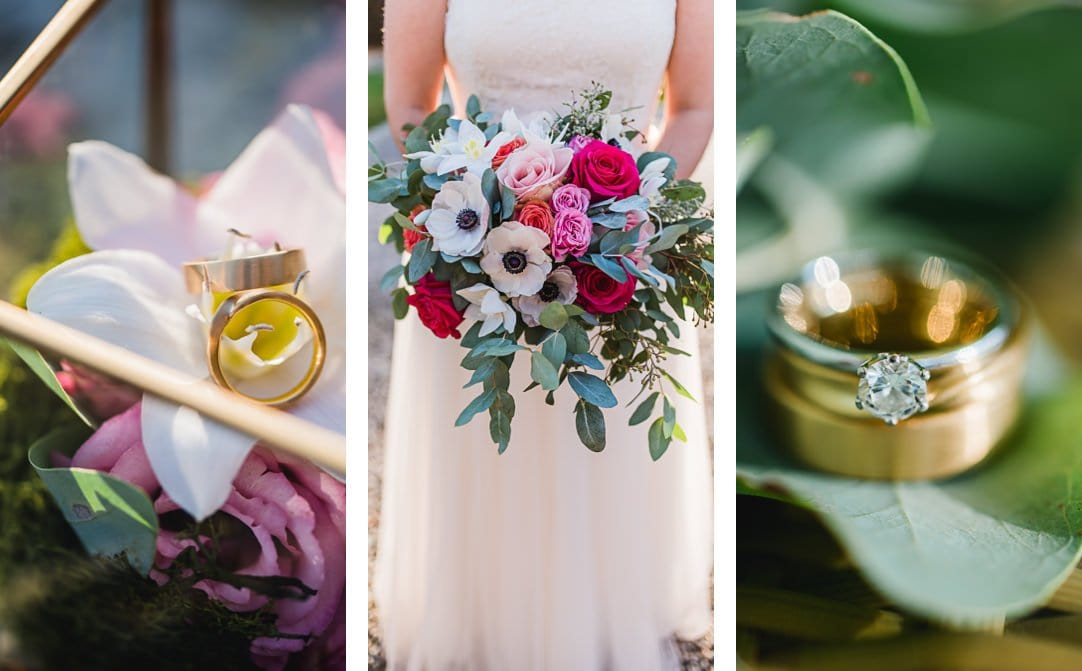 Hochzeitslocation am Starnberger See, La Villa, Gartenpavillion, Sonne im Herbst, Hochzeitsfotos von Jung und Wild design, Brautstrauß und Ringdetails