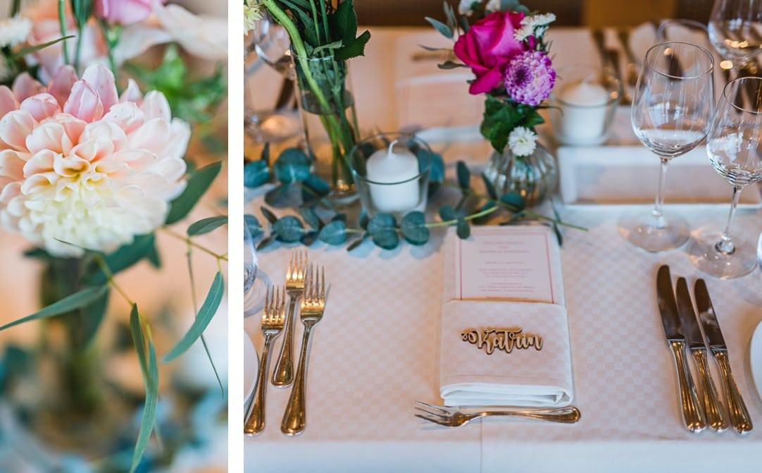 Gartenpavillion als Hochzeitssaal, Deko und Details, Blumen von Das Blühende Atelier, Tischkarten von Die Macherei, Hochzeitsfotos Jung und Wild design