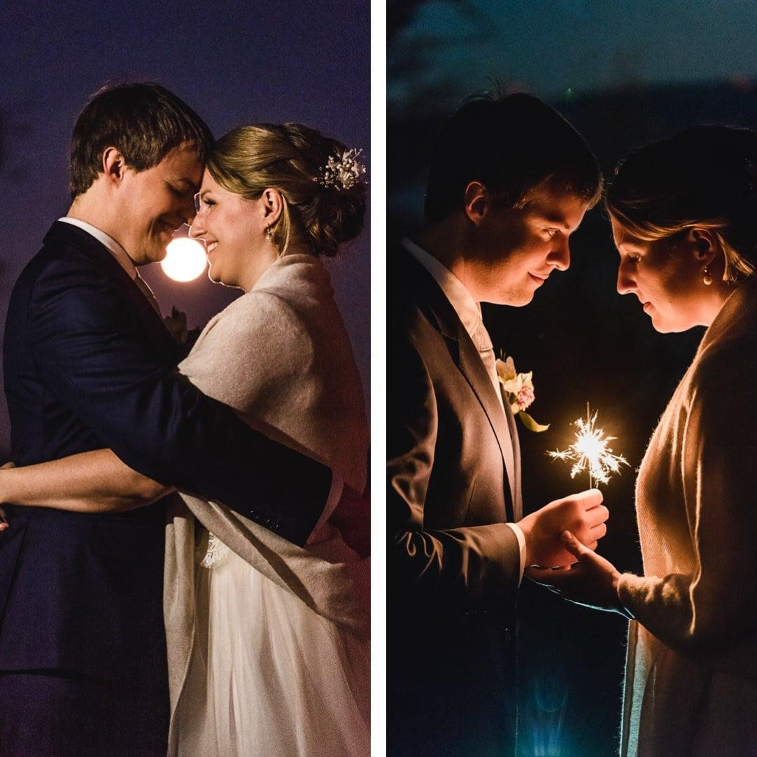 Wintermondportraits im LaVilla, Sternenwerferfotos, Hochzeitsfotos im Winter, Jung und Wild design