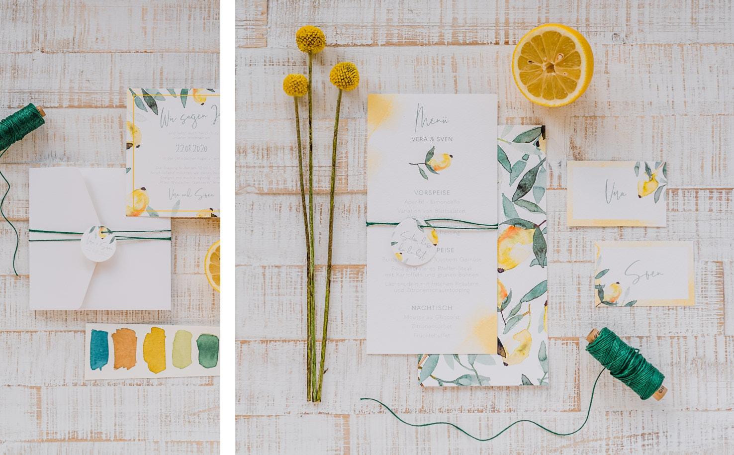 Produktfotografie für Farbgold: Flatlays von Hochzeitspapetrie Designs in frischem Zitronengelb kombiniert mit einem dunklen Grün