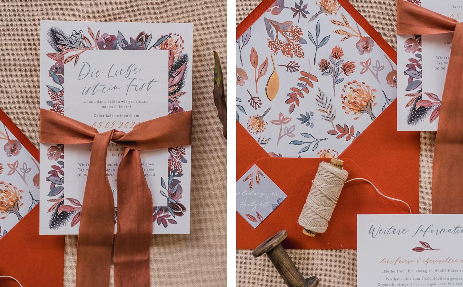 Produktfotografie für Farbgold: Flatlays von Hochzeitspapetrie Designs in nordafrikanischem Makramee Desgin