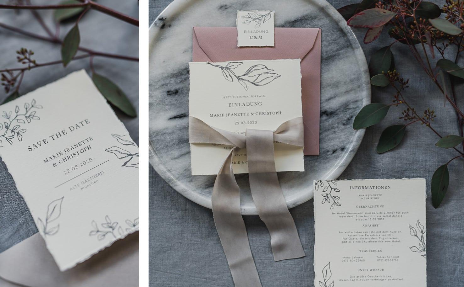 Produktfotografie für Farbgold: Flatlays von Hochzeitspapetrie Designs in schlichter Eleganz