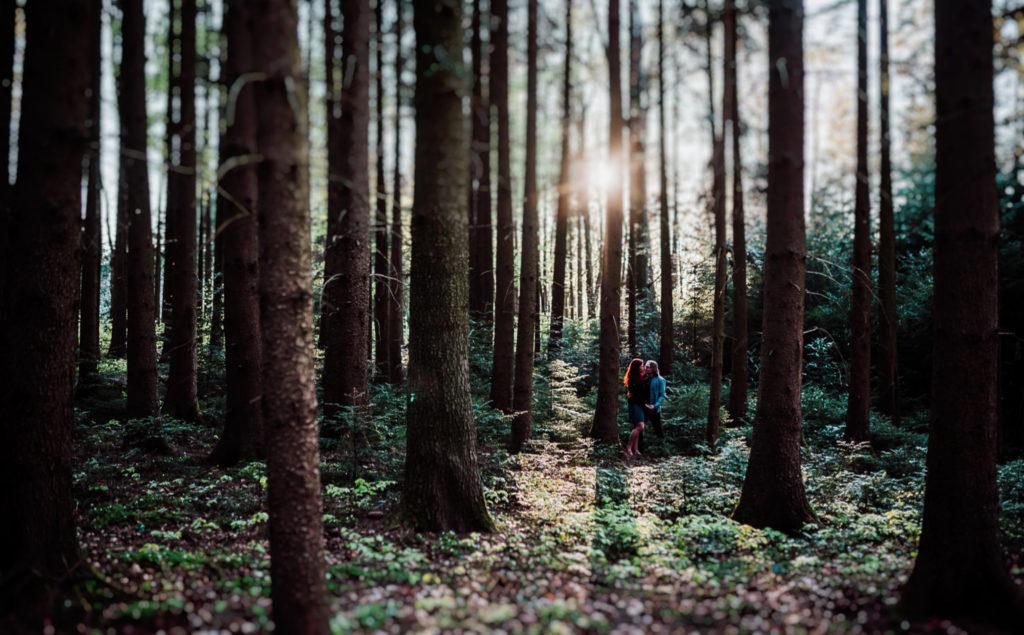 Pärchenfotos bei Abendsonne im Wald, Frau mit roten Locken, Waldshooting in Pfaffenhofen, München, Ingolstadt