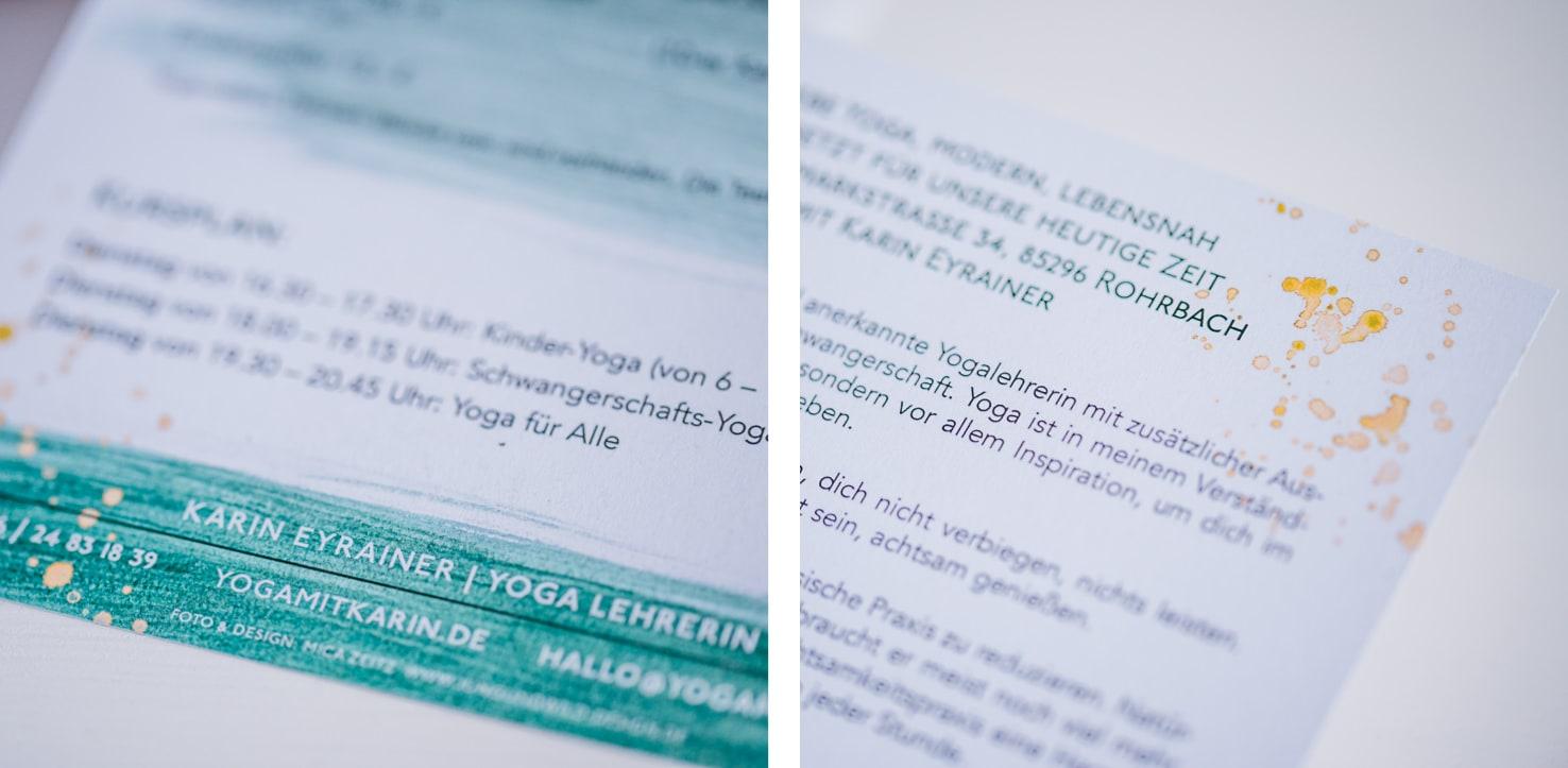 Grafikdesign, Logodesign und Fotografie in einem Yoga Flyer von Jung und Wild design aus Scheyern, Pfaffenhofen, München, Ingolstadt